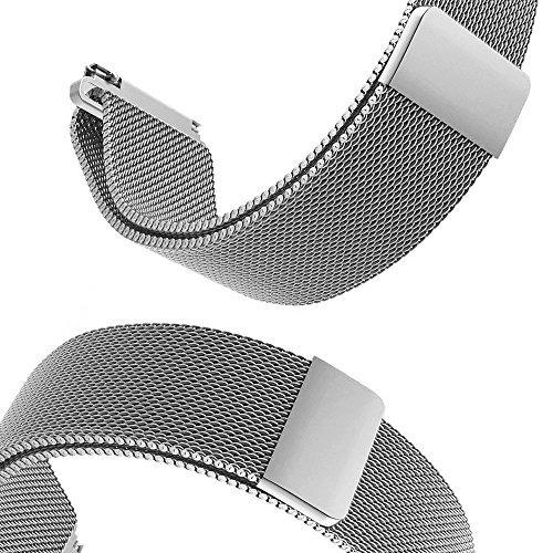 gear s3 frontier / banda reloj clásico, v-moro silver milane