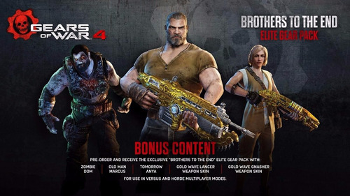 gears of war 4 gear packs + brothers to the end + mapas dlc