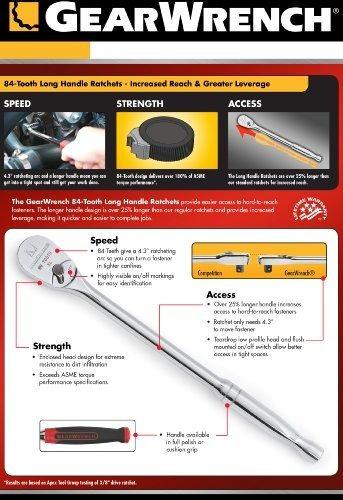 "GearWrench 3//8/"" Drive Long Handle Cushion Grip Teardrop Ratchet 81265"