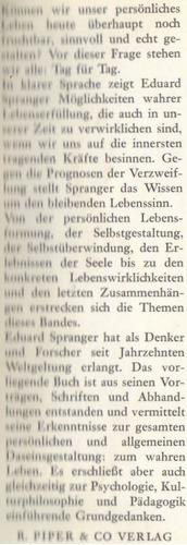 gedanken zur daseins gestaltung / eduard spranger / alemán