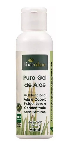gel aloe vera hidratação natural pura 60ml live aloe