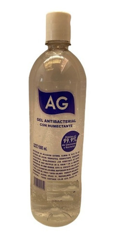 gel antibacterial 1000ml ag 70% alcohol humectante 1 pieza