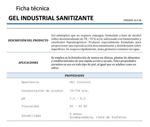 gel antibacterial 3.8 litros