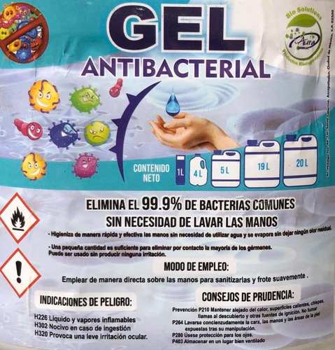gel antibacterial 70% alcohol