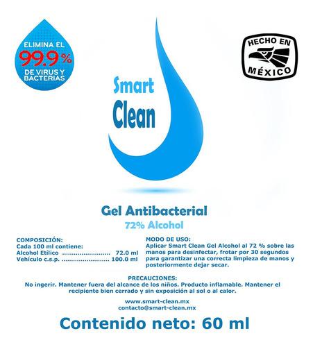 gel antibacterial 72% alcohol paquete de 12 piezas de 60 ml