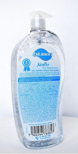 gel antibacterial blumen 1 litro 70% alcohol (1 pieza)