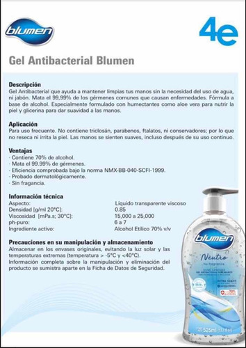 gel antibacterial blumen