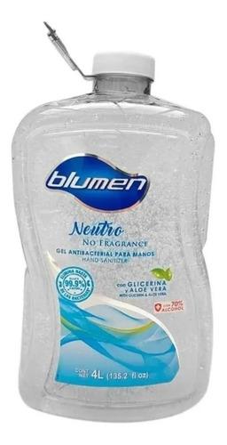 gel antibacterial blumen para manos, 4 litros 70% alcohol
