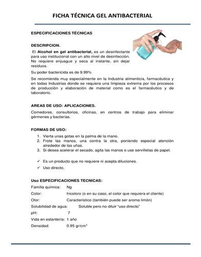 gel antibacterial desinfectante manos 70% alcohol