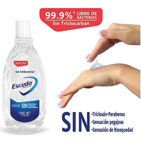 gel antibacterial escudo de 275 ml elimina el 99.9%
