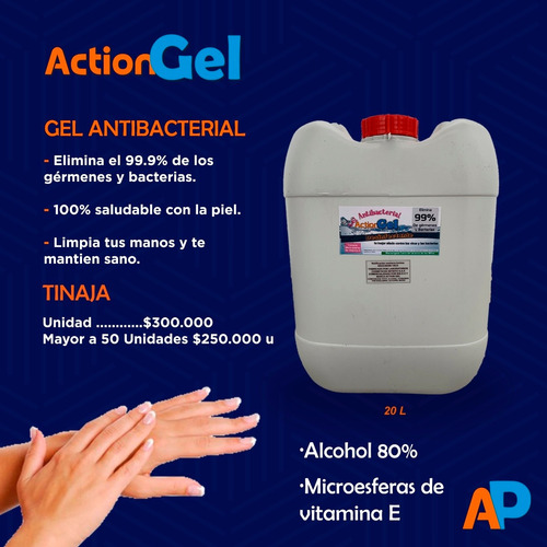 gel antibacterial por 20 litros