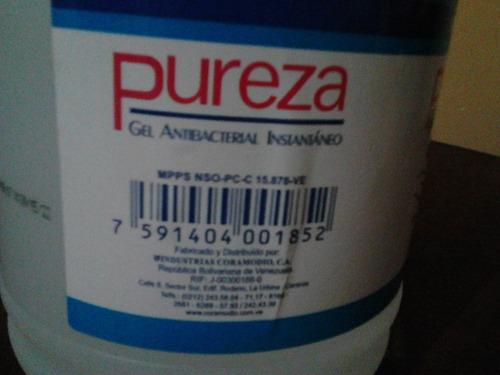 gel antibacterial  pureza bs. 325.500 x 4 galones= 1.302.000