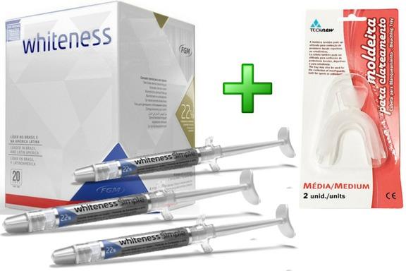 Gel Clareador Dental Whiteness Simple 3 Un 22 C Moldeira R 71