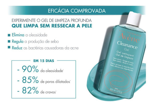 gel de limpeza facial avène cleanance gel 300ml
