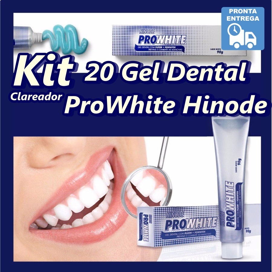 Gel Dental Clareador Hinode Pro White Dentes Brancos Kit20un R