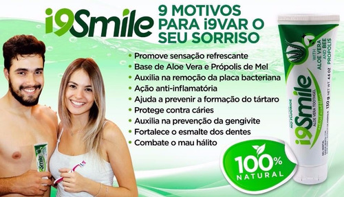 gel dental smile 100% natural-mel-própolis-aloe vera 130g