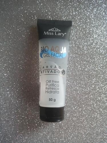 gel facial, bio aqua. miss lary. 50 g. oil free. carvão ativ