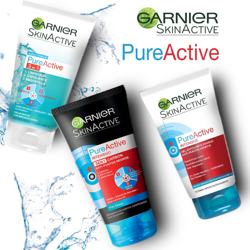 gel limpiador facial 3 en 1 carbón pure active garnier 150ml