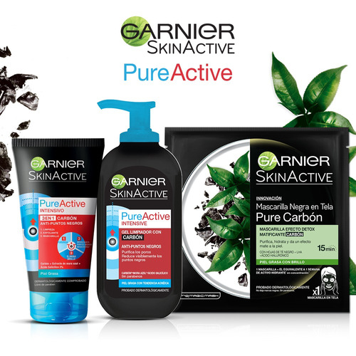 gel limpiador facial carbón pureactive garnier 200ml