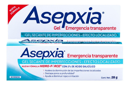 gel secante spot asepxia transparente 28g genomma lab