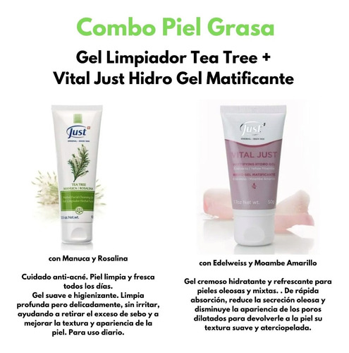 gel tea tree + hydro gel just - piel grasa