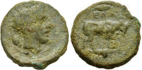 gela, sicilia. bronze moeda antiga grega grécia