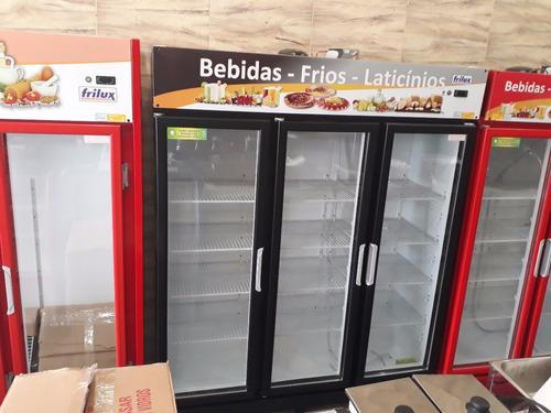 geladeira expositora de 3 portas de vidro economic - frilux