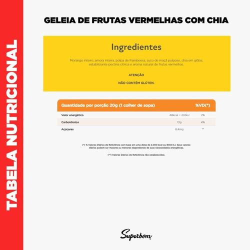 geleia 100% frutas vermelhas com chia