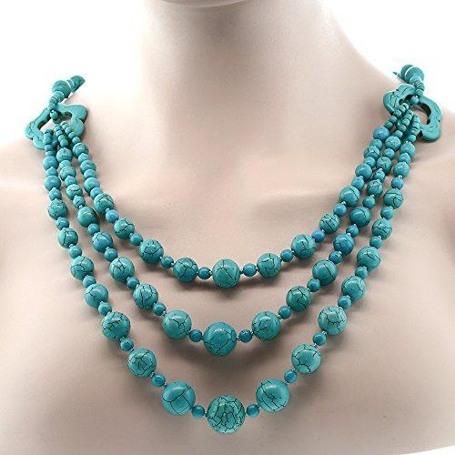 78c7a08a13d1 Gem Stone King 24 Impresionante Turquesa Howlite Beads Colla ...