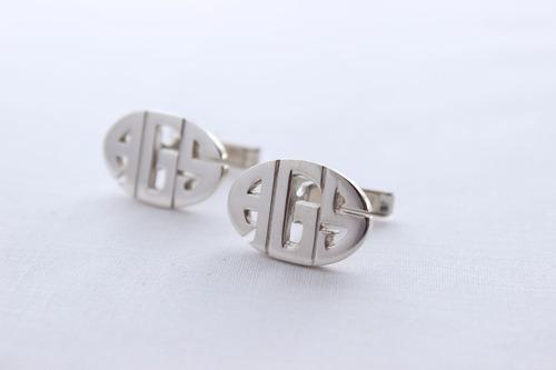gemelos iniciales personalizados confeccionados en plata 925