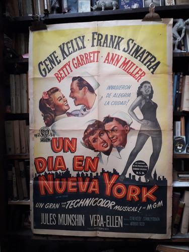 gene kelly - frank sinatra. on the town. afiche cine orig.