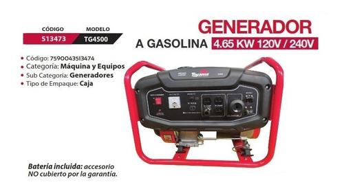 generador a gasolina 4,65 kw 120v / 240v