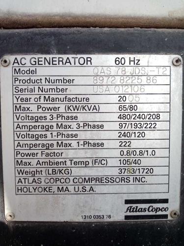 generador atlas copco qas 78jd mod.2005 80kva 65 kw