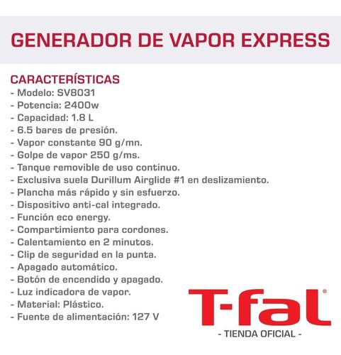 generador de vapor plancha tefal eco anti cal express t-fal