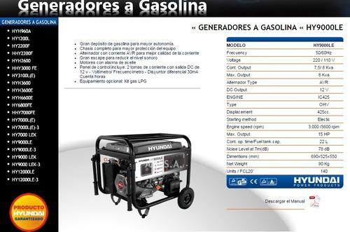 generador hyundai hy9000le 7.5 kva (ing maschwitz)