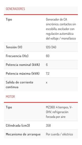 generador motor yamaha planta de luz ef7200de-1 4 tiempos