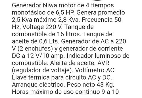 generador niwa gnw 28 e    2.8kva