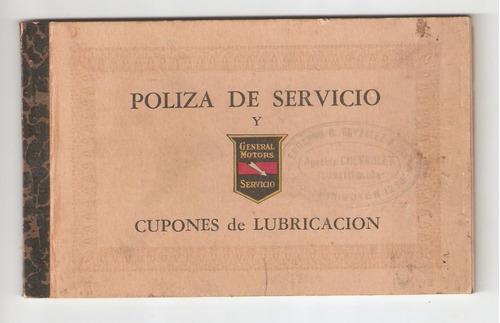 general motors cupones de lubricacion 1948.