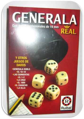 generala real ruibal dados/cubilete profesional 19mm