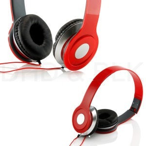generic - audífono vincha para mp3, radio , pc- rojo