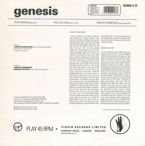 genesis - land of confusion extended uk vinilo 12 pulgadas