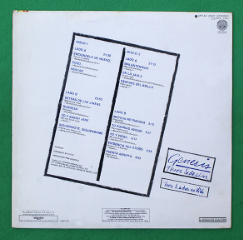 genesis lp doble three sides live difícil conseguir!