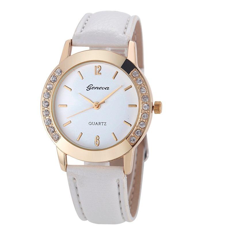1f105f67be3 geneva branco relógio feminino strass pulseira-couro. Carregando zoom.