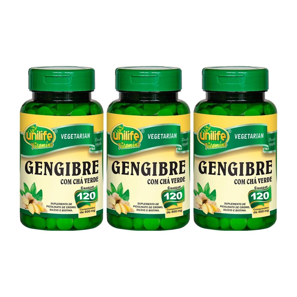 Gengibre Com Chá Verde 120 Comprimidos 400mg Unilife Kit 3 Unidades