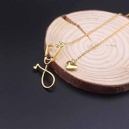 genial collar de estetoscopio y corazon dorado envio gratis