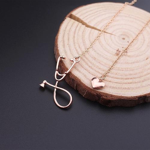 genial collar de estetoscopio y corazon rosa envio gratis