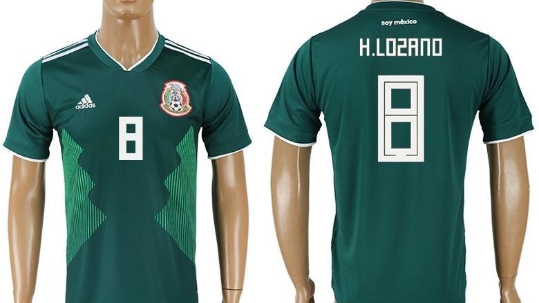 011be9187 Genial Jersey Verde Hirving Lozano 8 Mexico Mundial 2018 ...