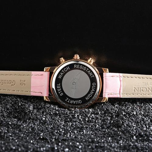 genuino cuero reloj deporte relojes luminoso reloj de pulser