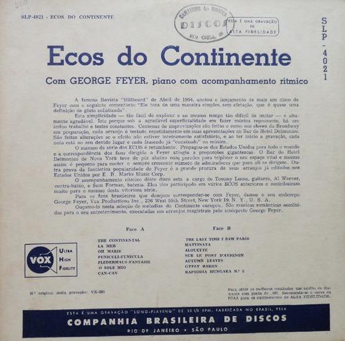 george feyer piano ritmo ecos do continente - lp 10 p sinter
