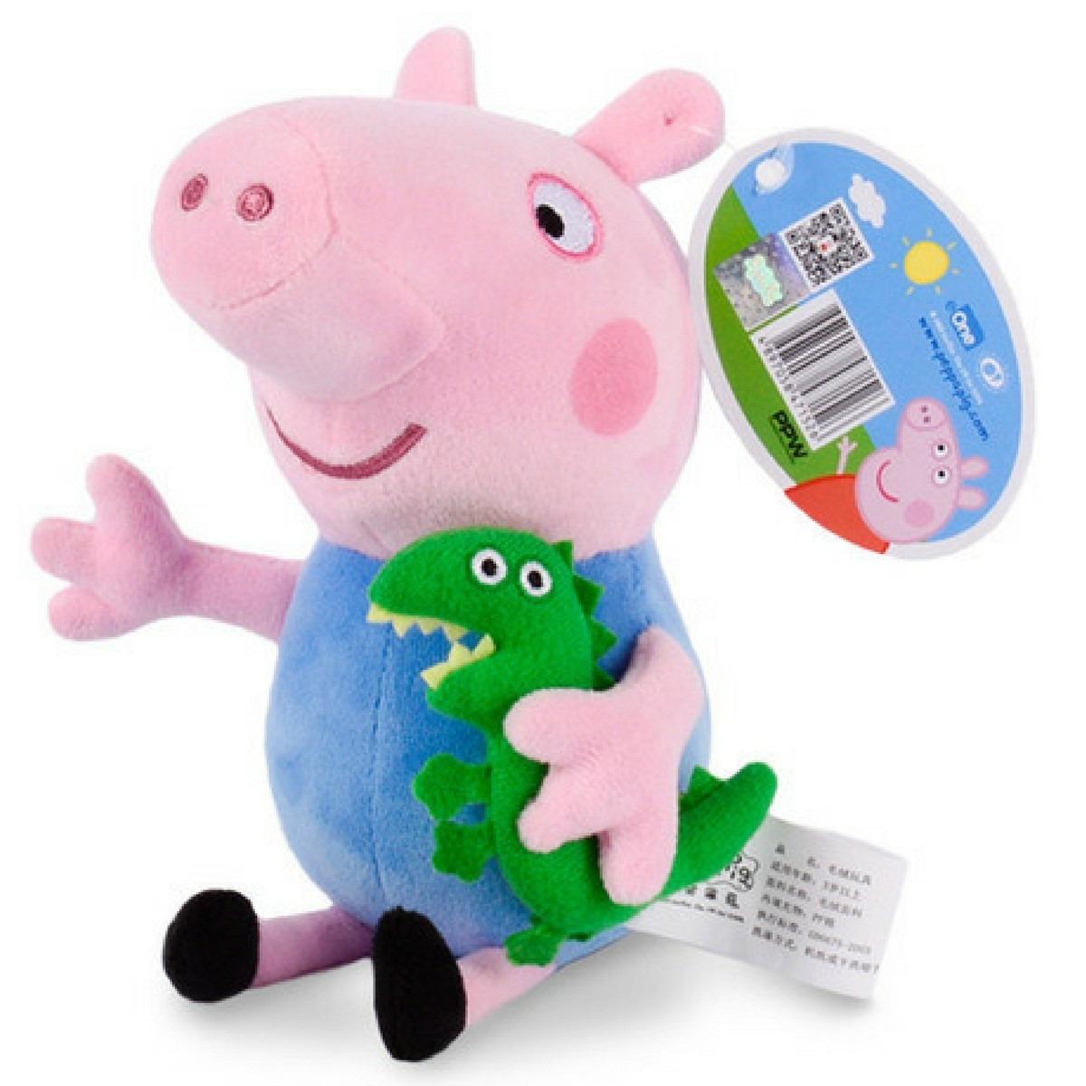 kit dvd peppa pig + dinossauro george + peppa pig pelúcia